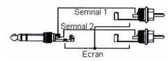 Cablu Y, conectori jack stereo - 2x RCA