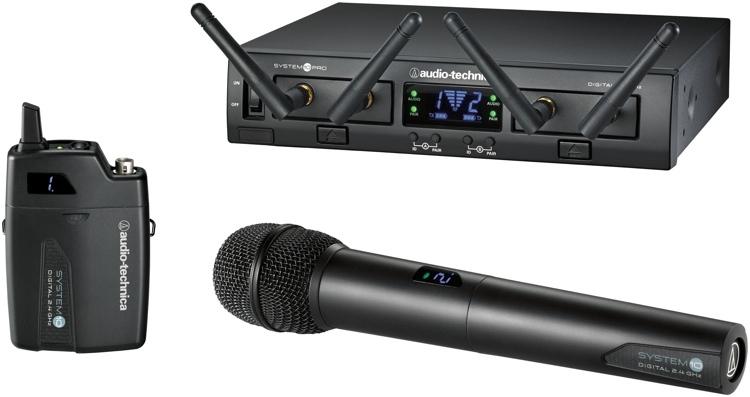 Sistem digital wireless dual cu microfon de mana si emitator de buzunar
